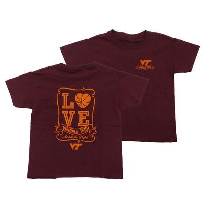 Virginia Tech Youth Love Basketball T-Shirt