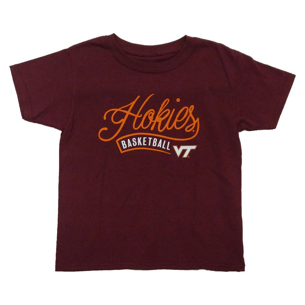 Virginia Tech Youth Whispy Script Basketball T- Shirt