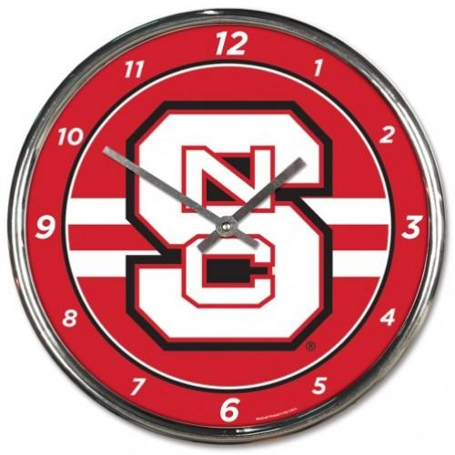 Nc State Wincraft Chrome Clock