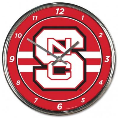 NC State Wincraft Chrome Clock