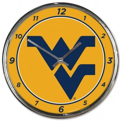 West Virginia Wincraft Chrome Clock