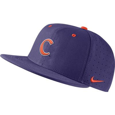 Clemson Nike Aero Baseball Fitted Cap NEW_ORCHID