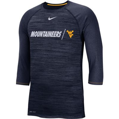 West Virginia Nike Dri-Fit Baseball Raglan Tee
