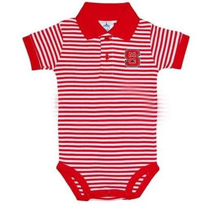 NC State Infant Striped Polo Bodysuit
