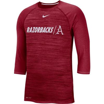 Arkansas Nike Dri-Fit Baseball Raglan Tee