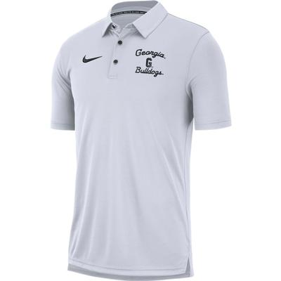 Georgia Nike Chain Stitch Dri-Fit Polo WHITE