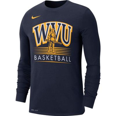 West Virginia Nike Dri-Fit Long Sleeve Basketball Tee