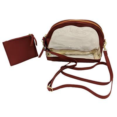 Maroon Trim Crossbody Clear Bag