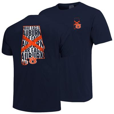 Auburn State Outline Flag Fill Comfort Colors Tee