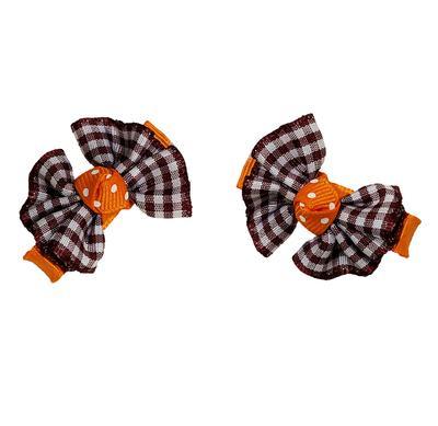 Maroon & Orange Plaid Hair Bow Pair