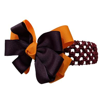 Maroon & Orange Hair Bow W/ Crochet Headband