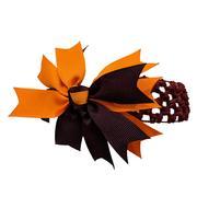 Maroon & Orange Hair Bow W/Crochet Headband