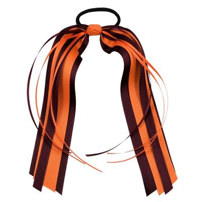 Maroon & Orange Streamer Ponytail