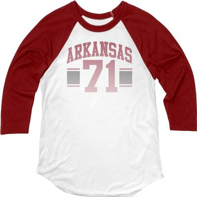 Arkansas Blue 84 Women's Hadley Baseball Tee