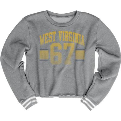 West Virginia Blue 84 Women's Quinn Varsity Crop Top