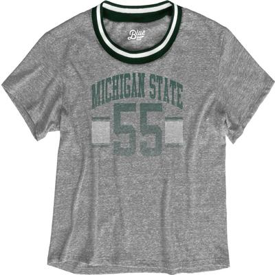 Michigan State Blue 84 Women's Brooklyn Varsity Crop Tee