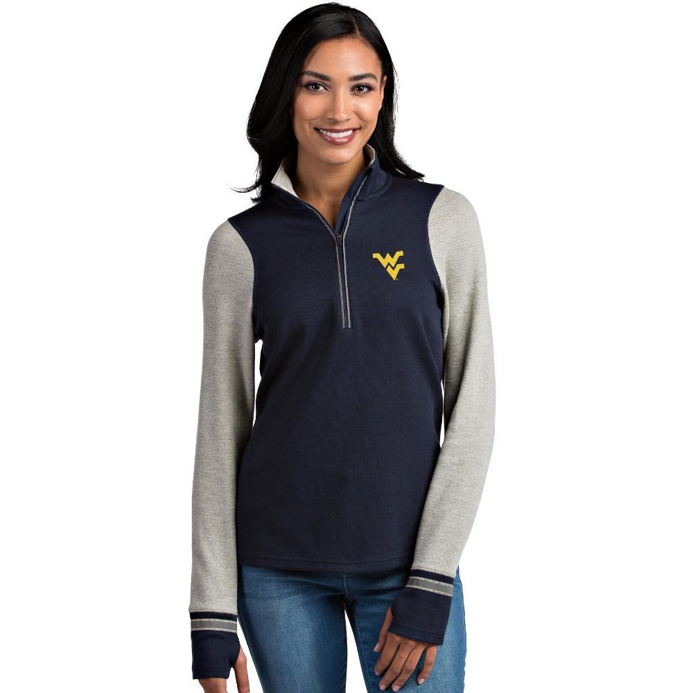 West Virginia Antigua Women's Pitch 1/2 Zip Pullover