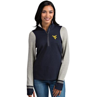 West Virginia Antigua Women's Pitch 1/2 Zip Pullover