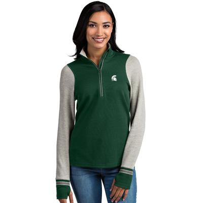 Michigan State Antigua Women's Pitch 1/2 Zip Pullover
