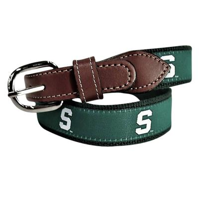 Michigan State Web Leather Belt