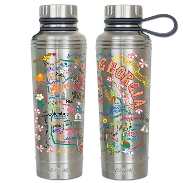 State Of Georgia Catsudios Stainless Steel Thermal Water Bottle