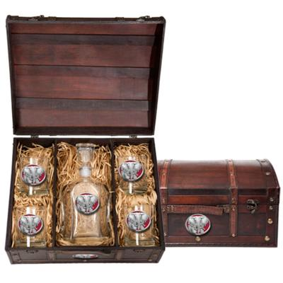 Heritage Pewter Decanter Chest Set (Elephant Emblem)