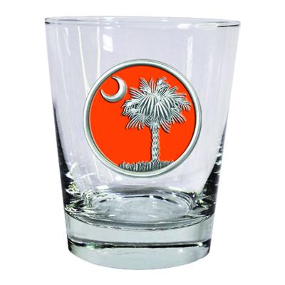 State of South Carolina Heritage Pewter Palmetto Emblem Rocks Glass