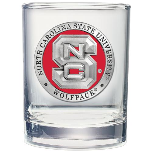 Nc State Heritage Pewter Rocks Glass