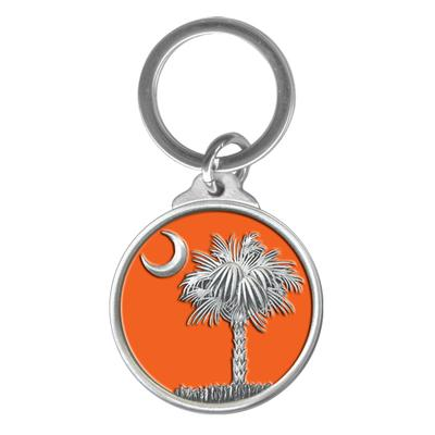 State of South Carolina Heritage Pewter Key Chain (Palmetto Emblem)