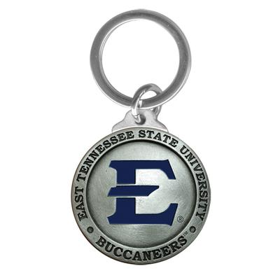 ETSU Heritage Pewter Key Chain (Blue Emblem)