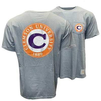 Clemson Retro Brand Block C Pigment Dyed Pocket Tee
