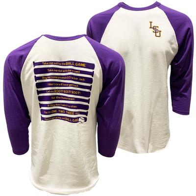 LSU Baseball Take Me Out to the Ball Game Raglan Tee