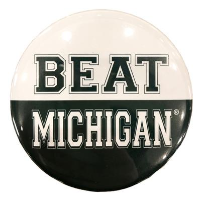 Green & White Beat Michigan Button