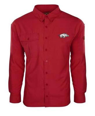Arkansas Drake Flyweight Long Sleeve Button Down Shirt