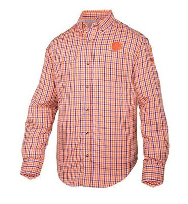Clemson Drake Gingham Plaid Wingshooter's Long Sleeve Shirt