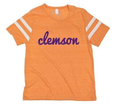 Clemson Women's Jersey Striped Sleeve Tee