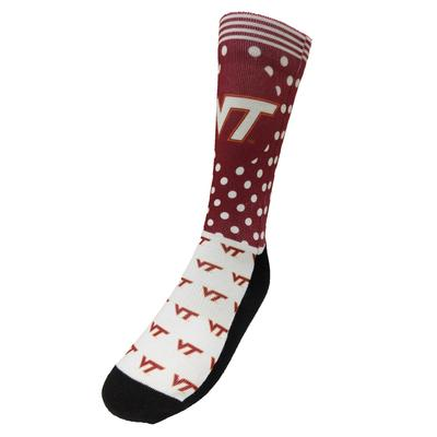 Virginia Tech Rock Em Women's Polka Dot Crew Socks