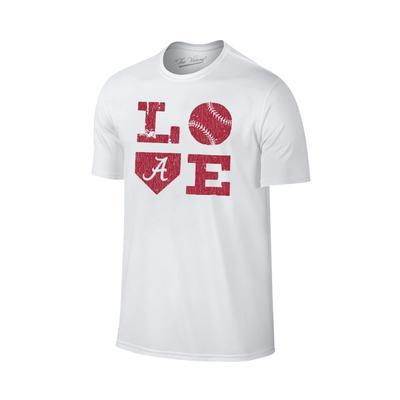 Alabama Love Softball Short Sleeve T Shirt WHITE