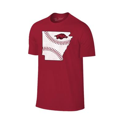 Arkansas Laces in State Short Sleeve T Shirt CRIMSON