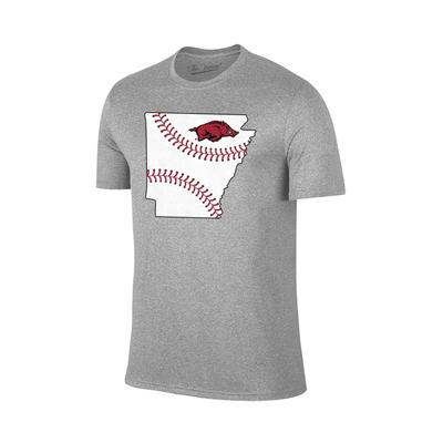 Arkansas Laces in State Short Sleeve T Shirt GREY