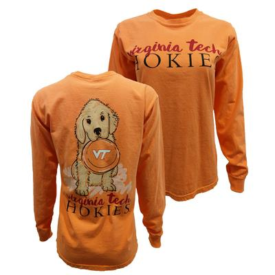 Virginia Tech Comfort Colors Lab W/ Frisbee L/S T-Shirt