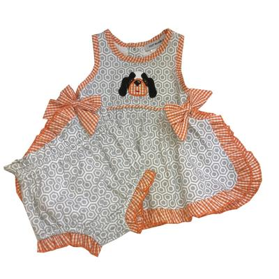 Light Grey and Orange Infant Bloomer Set