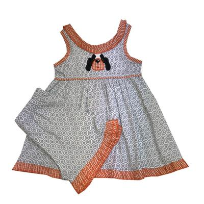 Light Grey and Orange Toddler Dress and Short Set