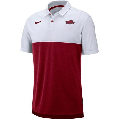 Arkansas Nike Breathe Color Block Polo WHITE/CRIMSON
