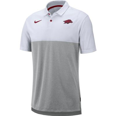 Arkansas Nike Breathe Color Block Polo WHITE/GREY