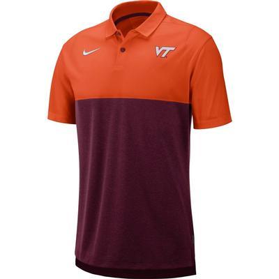 Virginia Tech Nike Breathe Color Block Polo ORANGE/MAROON