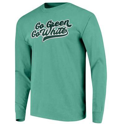 Michigan State Go Green Go White Script Comfort Colors L/S Tee