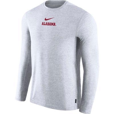 Alabama Nike Dry Long Sleeve Coaches Tee WHITE