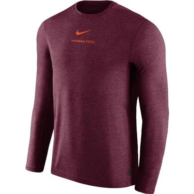 Virginia Tech Nike Dry Long Sleeve Coaches Tee