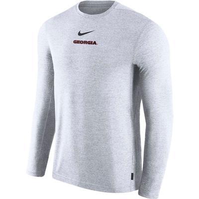 Georgia Nike Dry Long Sleeve Coaches Tee WHITE